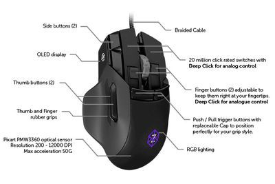 This Mouse Has An Accelerometer, Gyroscope, 50 Buttons, And An Oled Display To Make You The Ultimate Gamer