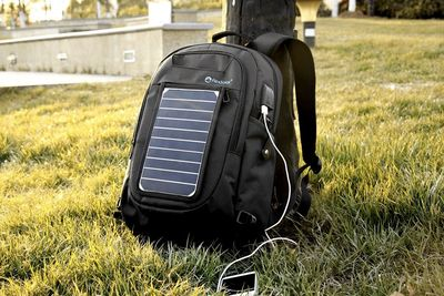 A Backpack With A Removable Solar Charger