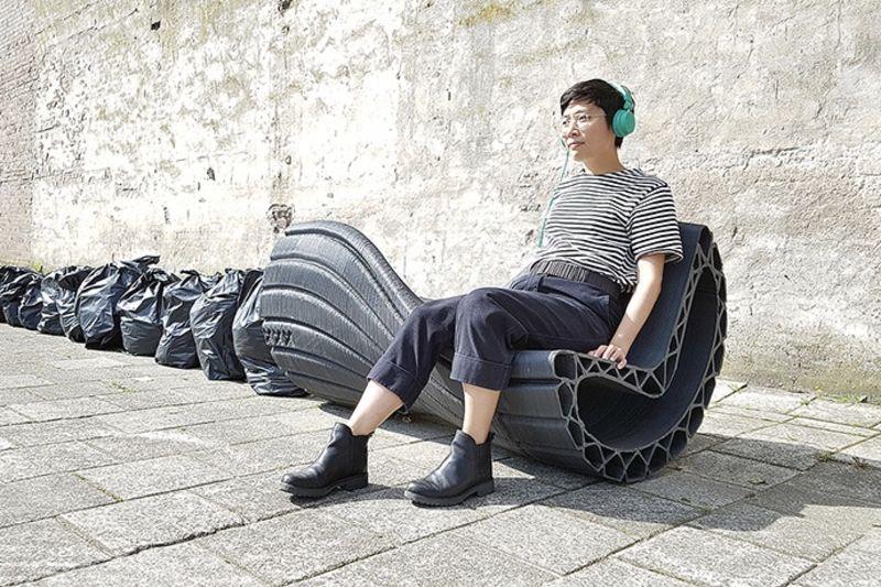3d-printed Plastic Bags Become Urban Furniture 1