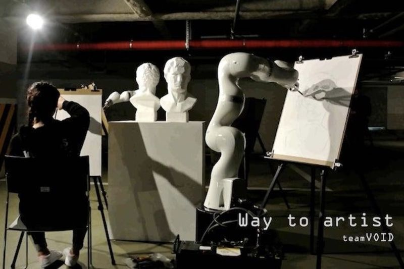 Video: Intelligent Robotic Arm And Human Artist Sketch The Same Image At The Same Time 1